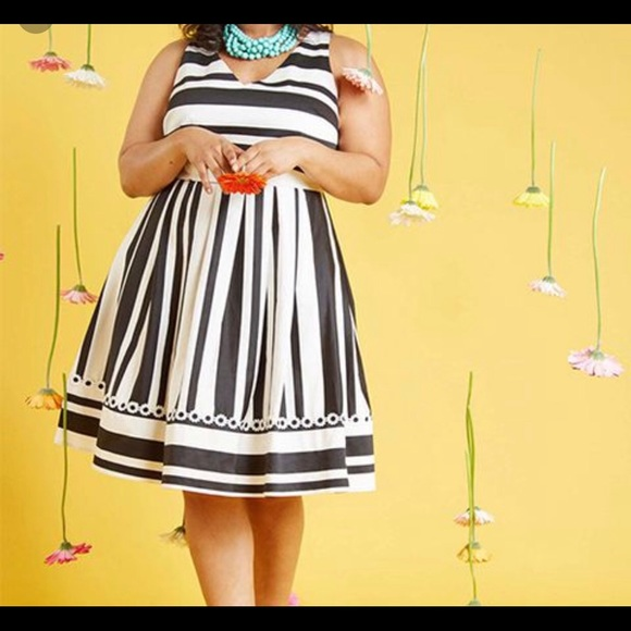 Modcloth Dresses | Black White Striped Dress Plus Size | Poshmark